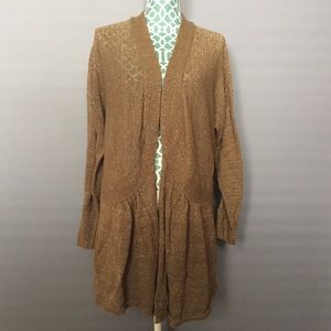 Apt. 9 Tan Open Front Sparkly Cardigan
